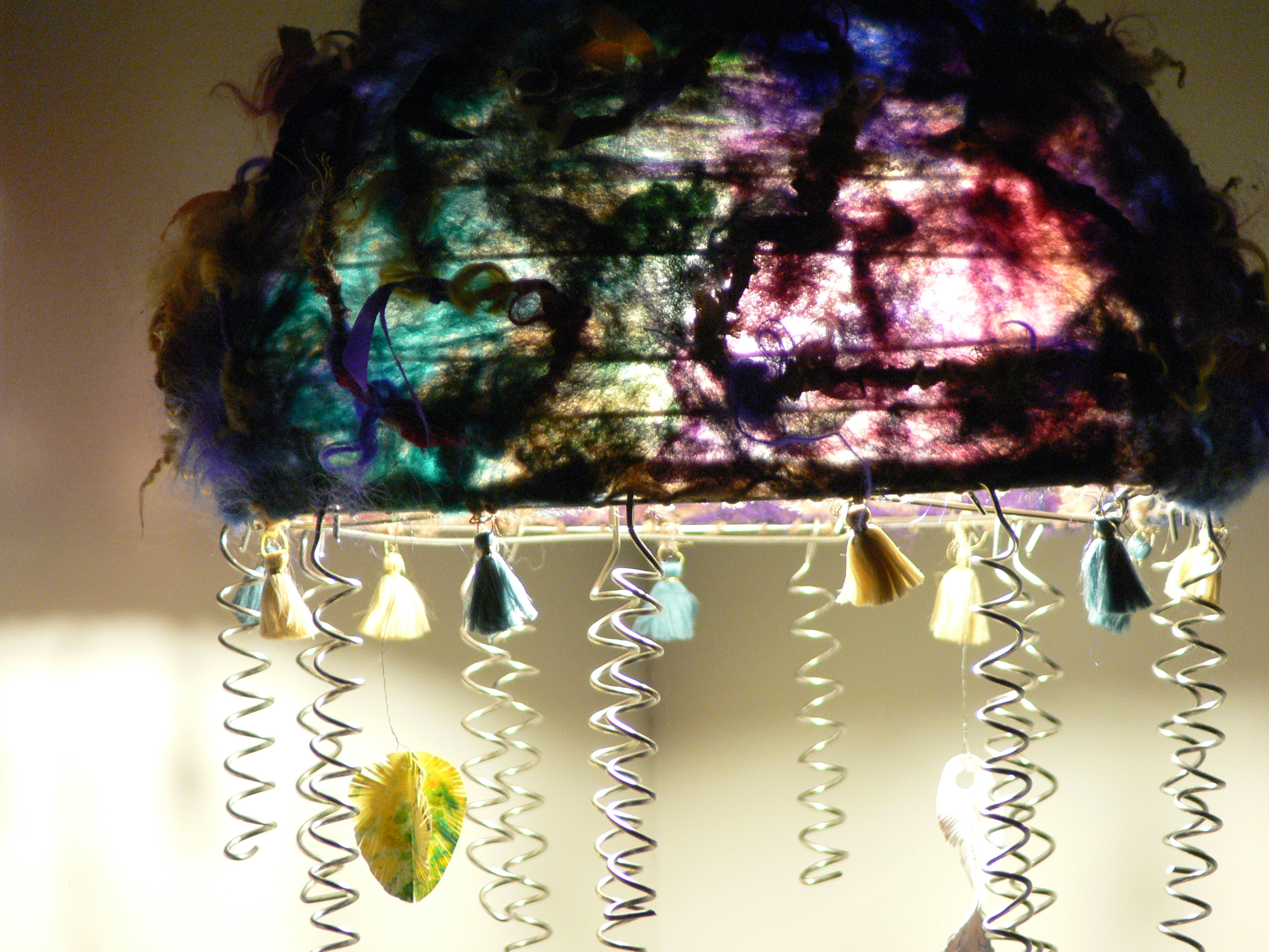Felting & Spinning a Colourful Lampshade