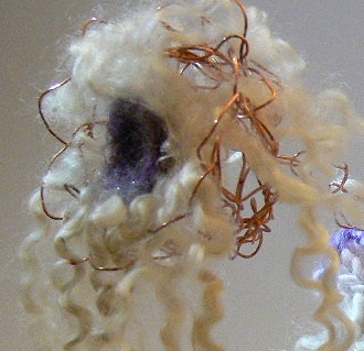 Creation by Lynne Milsom Fibre Arts Bootcamp Wire Crochet circular weaving