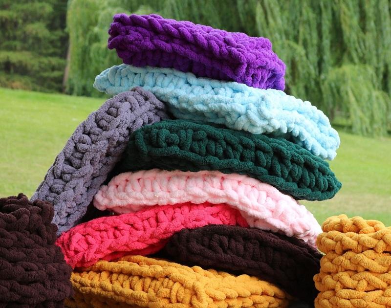 super bulky chenille yarn for mega knitting and crochet